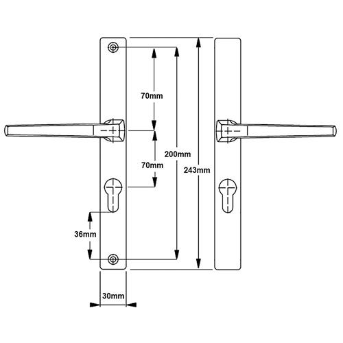 White 70pz handle to suit Furco lock