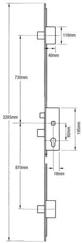 35mm GU Latch, Central Deadbolt and 2 Deadbolts Wide Version, Lift lever (L/L) - 1600mm between deadbolts