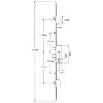 35mm GU Latch, Deadbolt, 2 Hooks and 2 Inboard Rollers, Split spindle (S/S)